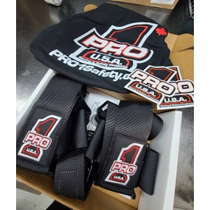 A brand new set of Pro 1 Cam lock seat belts going to Quebec City for Martin Patry's Outlaw Fox Body Mustang