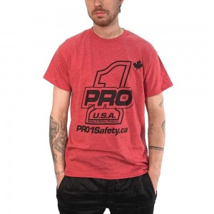 Heather Sport Red Tee for the classic look. Available on our online store. Link in the bio. #Pro1SafetyCanada #Pro1Safety @pro1safety
